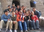 On the Great Wall of China with University students